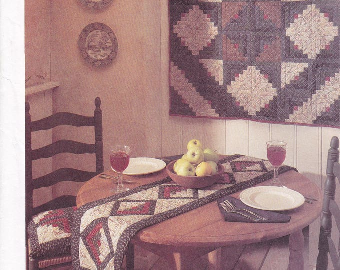 FREE US SHIP McCall's 8209  American Tradition Folk Art Primitive Sewing Pattern Quilt Star Apron Table Runner Placemats Uncut 1995