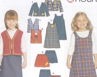 ffc9285bfaa13a Sewing Pattern Simplicity 2483 Girls Jumper Skirt vest Dress Pants Bolero  Elastic Waist Easy Size 2 3 4 5 6 6x Uncut New
