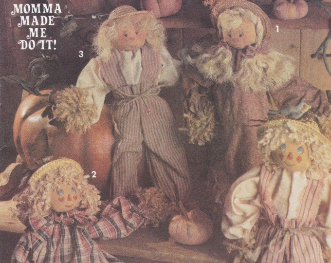 FREE US SHIP Simplicity 8022 Sewing PatternRetro 1990s 90's Momma Made Me Do it Mr Mrs Scarecrow Doll with Clothes Soft Cloth Uncut 1992