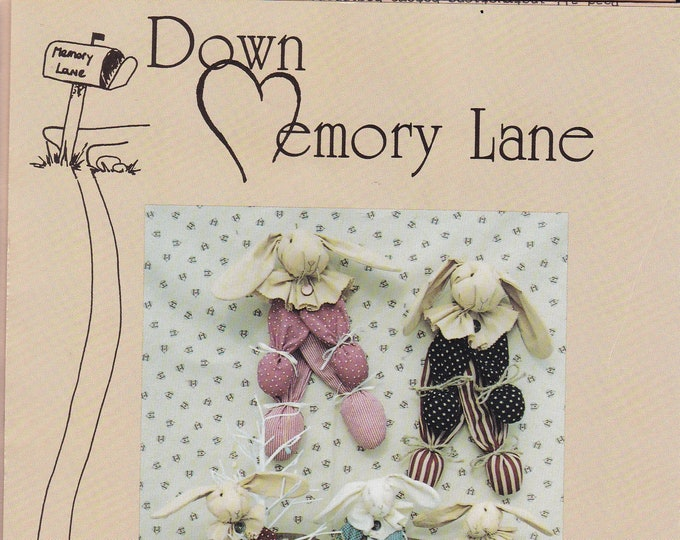 FREE US SHIP Down Memory Lane #36 Doll Holiday Bunny Rabbit Floppy Ears Craft Sewing Pattern  Patriotic Bunny In Bag Easter Uncut 1990's