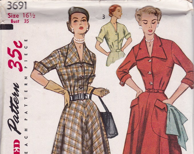 FREE US SHIP Bust 35 Vintage Retro 1950s 50s Original Sewing Pattern Simplicity 3691 Uncut Half size Glamour Dress Big Pockets ff