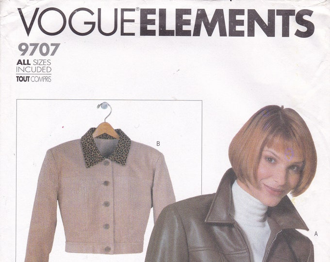 FREE US SHIP Vogue Elements 9707 1990s 90s Sewing Pattern Jacket Size 6 8 10 12 14 16 18 20 22 Bust 30 31 32 34 36 38 40 42 44 uncut