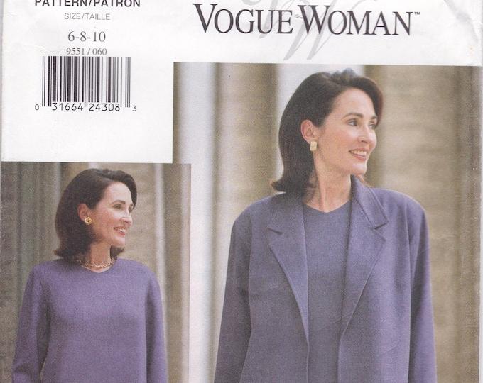 Free Us Ship Sewing Pattern Vogue Woman 9551 Retro 1990s 90's Dress Jacket Size 6 8 10 Bust 30.5 31.5 32.5 Uncut