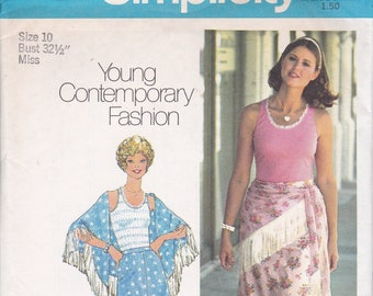 FREE US SHIP Simplicity 6893 Vintage Retro 1970's 70's Sewing Pattern Boho Bohemian Skirt Shawl Tank Top Size 6 8, 10 Bust 30.5 31.5 ,32.5