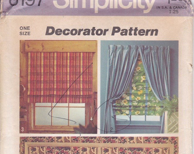 Free Us Ship Simplicity 6197 Decorator Pattern Lined Roman Shade Curtain Window Treatments Uncut Home Vintage Retro 1970s 70s Pattern