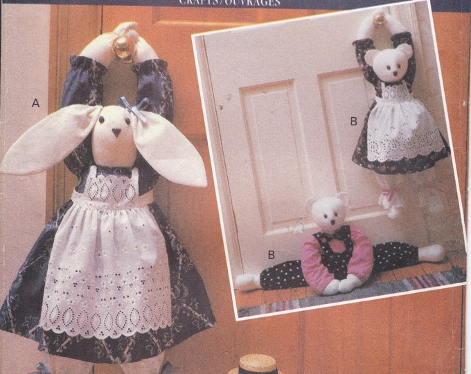 FREE US SHIP Butterick 5825 Sewing Pattern Craft Draft Stoppers Doors Mr Mrs Bear Bunny Rabbit  Out of Print Uncut Factory Folded