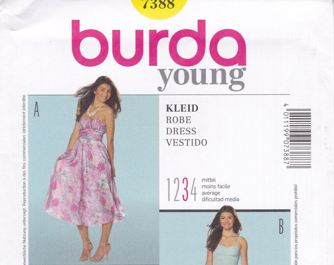 FREE US SHIP Burda 7388 Sewing Pattern Summer Strapless Sweetheart Dress Size 6 8 10 12 14 16 18 Bust 30 31 32 34 36 38 40 New