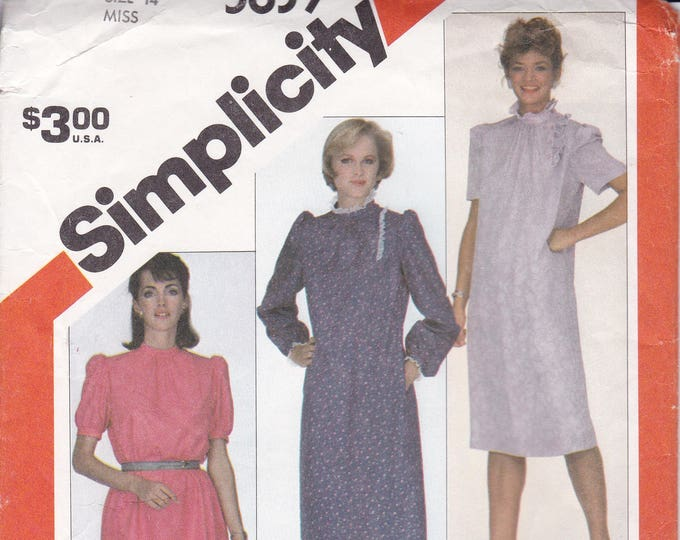 FREE US SHIP Vintage Retro 1980s 80s Sewing Pattern Simplicity 5839  Uncut Asymmetrical Pullover Dress Overnight Success Size 14 Bust 36