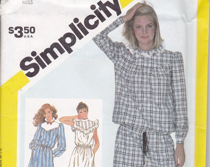 FREE US SHIP Vintage Retro 1980s 80s Sewing Pattern Simplicity 5847  Uncut Drop Waist  Dress Ruffle Yoke Size 10 Bust 32.5 ff