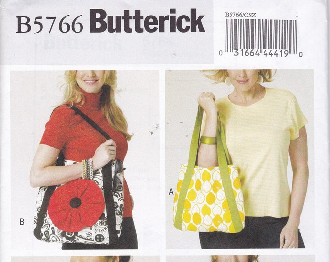 FREE US SHIP Butterick 5766 Sewing Pattern Tote Bag Purse Handbag Purse New Out of Print Flower Apple Applique Ruffle New uncut
