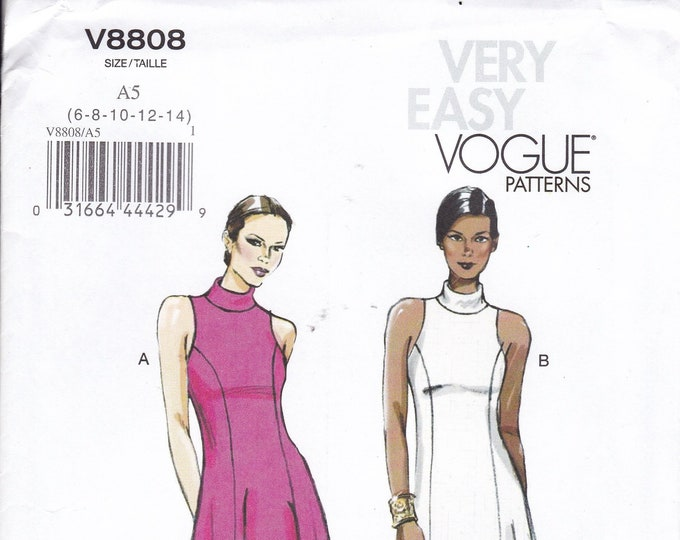 FREE US SHIP Vogue 8808 Sewing Pattern Dress Princess Seams Inset Arms Size 6/14 14/22 Bust 30 31 32 34 36 38 40 42 44 46 Uncut Out of Print