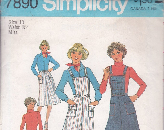 FREE US SHIP Simplicity 7890 Vintage Retro 1970's 70's Sewing Pattern Jeans Denim Boho Culottes Skirt Bib  Size 10 Waist 25 Factory Folded