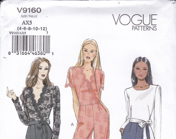 FREE US SHIP Sewing Pattern Vogue 9160 Sexy Jumpsuit Romper New Size 4/12 12/20 Bust 29 30 31 32 34 36 38 40 42New