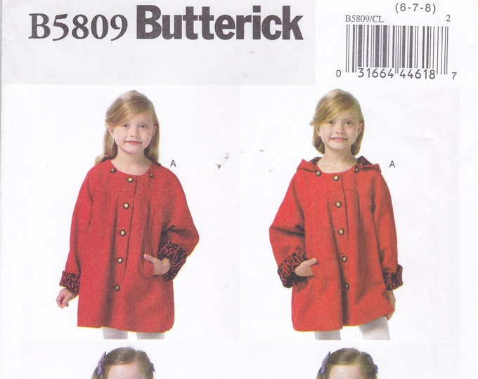 FREE US SHIP Butterick 5809 Sewing Pattern Girl Coat Button Detachable Hood Cape Capelet Factory Folded  Size 6 7 8 New Uncut