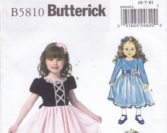 FREE US SHIP Sewing Pattern Butterick 5810Lined Bodice Dress Flower Girl Princess Factory Folded Size Girls 6 7 8