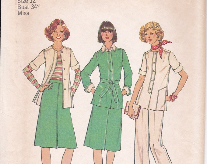 FREE US SHIP Simplicity 7392 Retro 1970's 70's Polyester Pantsuit Jacket Top Pants Size 12 Bust 34 Sewing Pattern Uncut