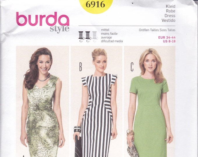 FREE US SHIP Burda 6916 Sewing Pattern Flange Sleeve Mod Seam Dress New Size 8 10 12 14 16 18 Waist 24 26 28 32 32