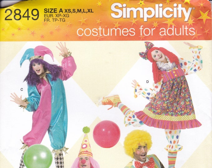 FREE US SHIP Sewing Pattern Simplicity 2849  Halloween Costume Adult New Matching His Hers Clown Jester Raggedy Ann Doll Size 6/26 plus