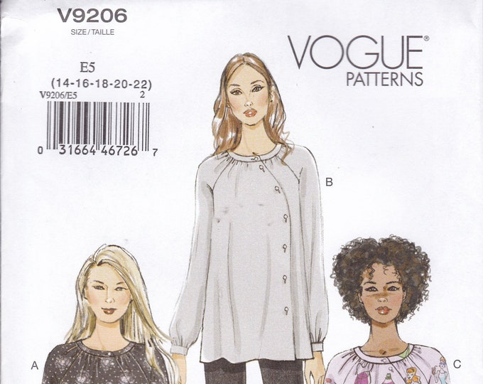 FREE US SHIP Vogue 9206 Sewing Pattern Raglan Sleeve Blouse Tunic Size 6/14 14/22 Bust 30 31 32 34 36 38 40 42 44 46  Uncut Out of Print