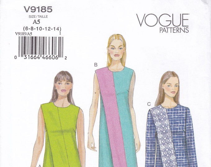FREE US SHIP Vogue 9185 Sewing Pattern Bias Seam Dress Top Pants Size 6 8 10 12 14 Bust 30.5 31.5 32.5 34 36 Out of Print