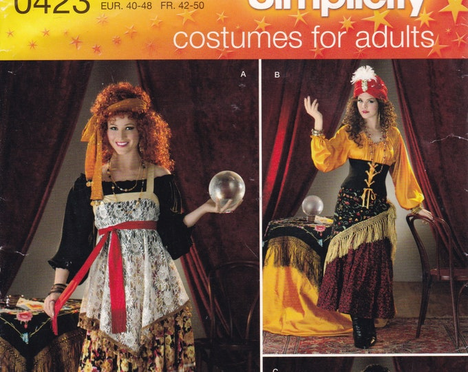 Free Us Ship Sewing Pattern Simplicity 0423 2331 Costume Bohemian Gypsy Fortune Teller Adult Miss Size  14 16 18 20 22 Halloween Uncut