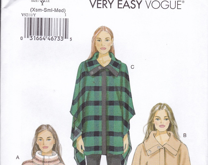 FREE US SHIP Vogue 9211 Poncho Cape Collar Size 4/14 16/26 Bust 30 32 34 36 38 40 42 44 46 48 2016 Sewing Pattern