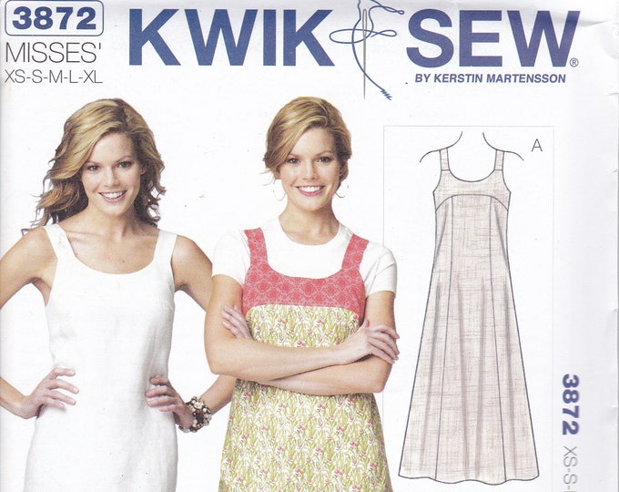 Free Us Ship Sewing Pattern Kwik Sew 3872 Babydoll Summer Dress Button Shoulder Straps Plus Size XS-XL Bust 30 32 34 36 38 40 42 44 45 Uncut