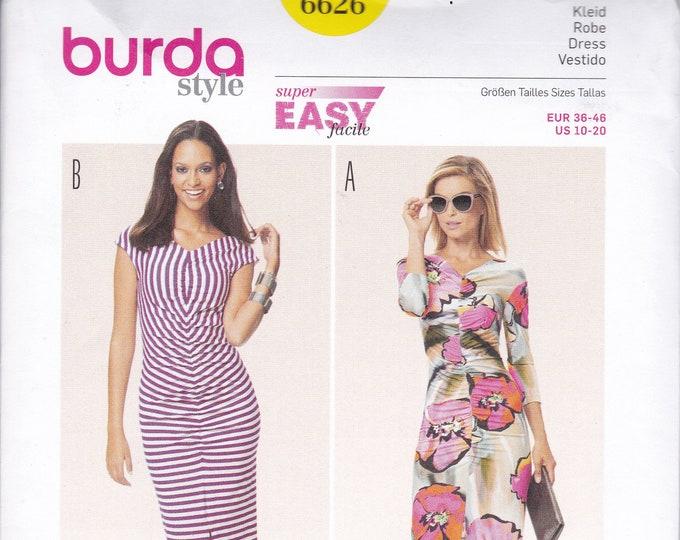 FREE US SHIP Burda 6626 Wiggle Knit Ruched Shirred Dress Size 10/20 10 12 14 16 18 20 Bust 32 34 36 38 40 42 Out of Print New uncut