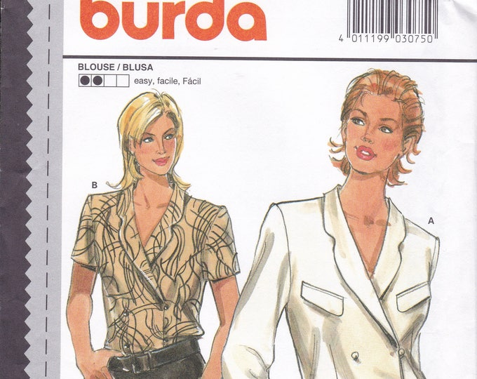 FREE US SHIP Sewing Pattern Burda 3075 Size 10 12 14 16 18 20 Bust 32 34 36 38 40 42 Plus UncutDouble Breasted Blouse Factory Folded