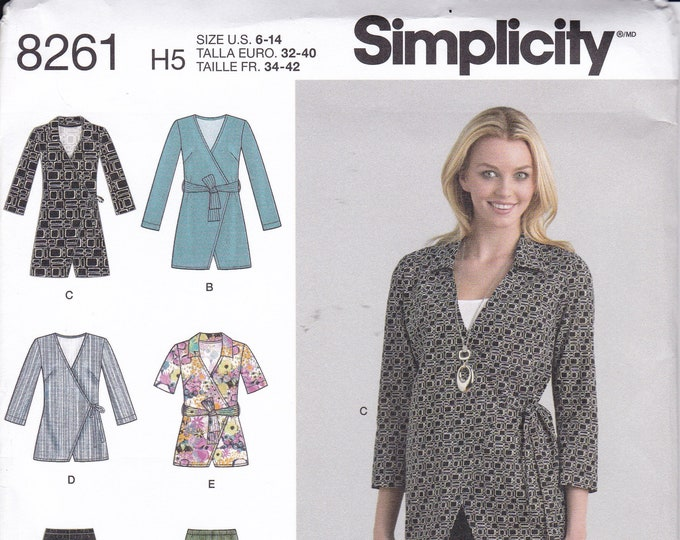 FREE US SHIP Simplicity 8261 Sewing Pattern wrap Jacket Tunic Blouse Leggings Pants Size 6 8 10 12 14 Bust 30.5 31.5 32.5 34 36 uncut