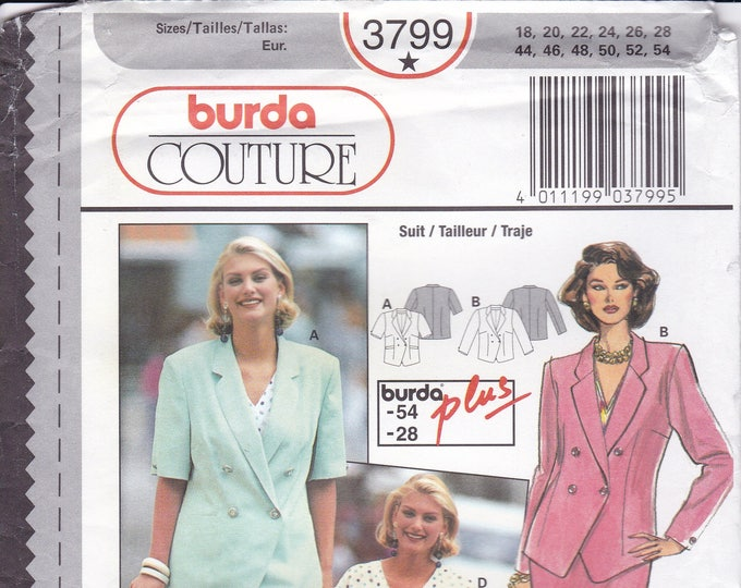 FREE US SHIP Burda 3799 Sewing Pattern Top Jacket Blouse Size 18 20 22  24 26 28 Bust 40 42 44 46 48 50 plus size Uncut Factory Folded