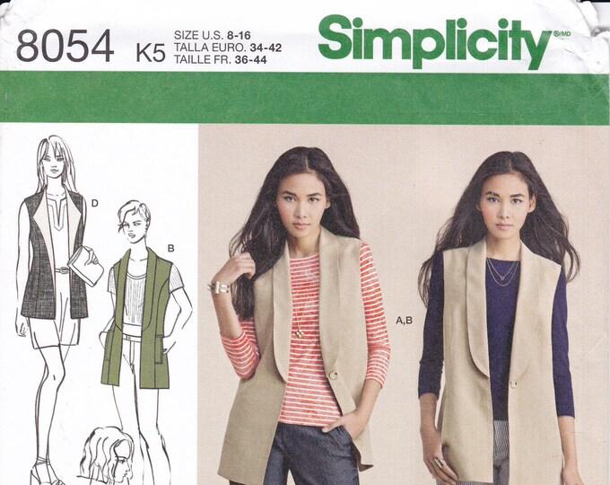 FREE US SHIP Simplicity 8054 Sewing Pattern Vest Wrap Lapels 8/16 Size 8 10 12 14 16 Bust 31 32 34 36 38 Uncut New
