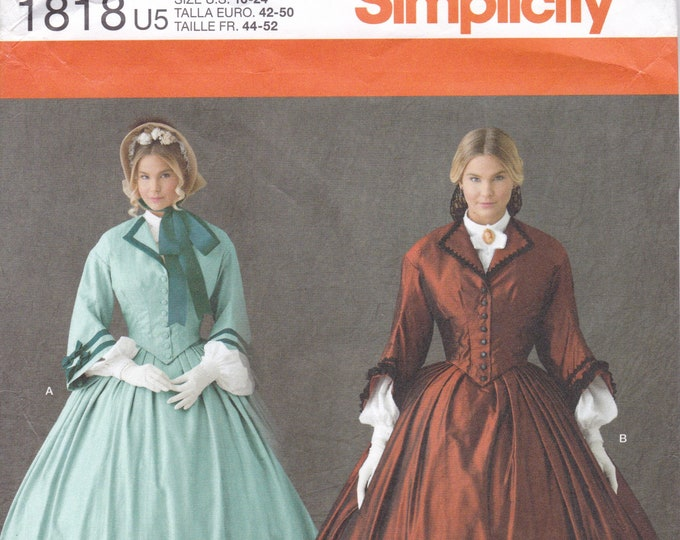FREE US SHIP Sewing Pattern Simplicity 1818  Halloween Costume Adult New Civil War Gown Dress Gone With The Wind Theatre 16/24