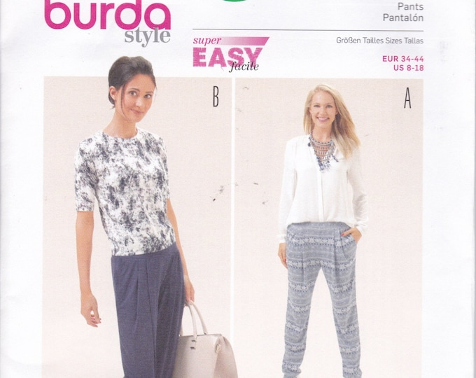 FREE US SHIP Burda 6665 Sewing Pattern Pleated Baggy Pants Jeans Capris New Size 8 10 12 14 16 18 Waist 24 26 28 30
