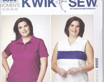 FREE US SHIP Kwik Sew 3866 Women's Plus Size Pullover Tops Sleeveless Sewing Pattern Bust 45 46 47 48 49 50 51 52 53 54 55 56 57 1x 2x 3x 4x