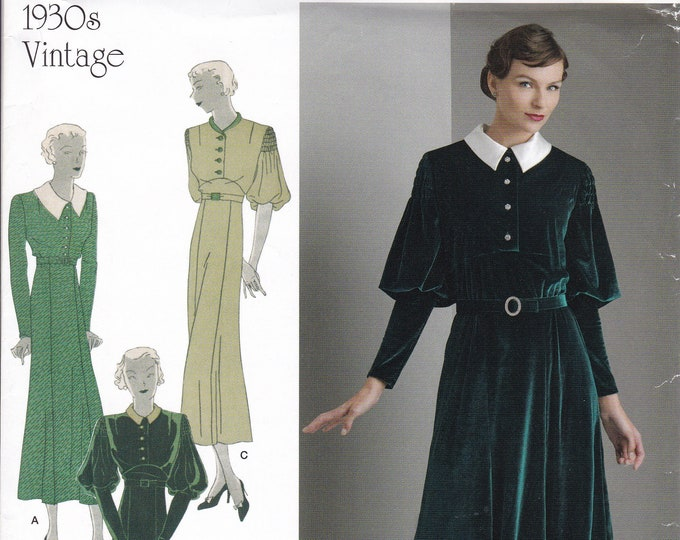 FREE US SHIP Vintage 30's Sewing Pattern Simplicity D0827 8504 Reproduction Lambchop Sleeve Frock Dress Size 4-12 12-20 Bust 29-42 new