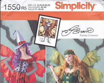 FREE US SHIP Sewing Pattern Simplicity 1550 Halloween Costume Adult New Witch Fairy Faery Fantasy Size 14 16 18 20 22 Bust 36 38 40 42 44