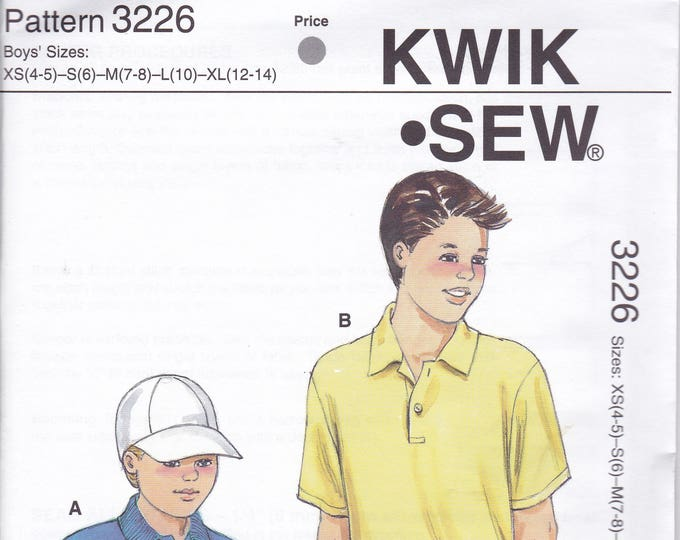 FREE US SHIP Kwik Sew 3226 Boy's Pullover Collar Shirt Button Tab Size 4 5 6 8 10 12 14 Sewing Pattern Out of Print