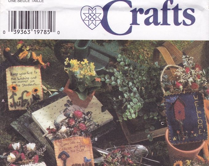 FREE US SHIP Simplicity 7473 Crafts Transfers Embroidery Folk Art Word Saying Felt Pockets Flower Arrangements Primitive Stitching  Uncut