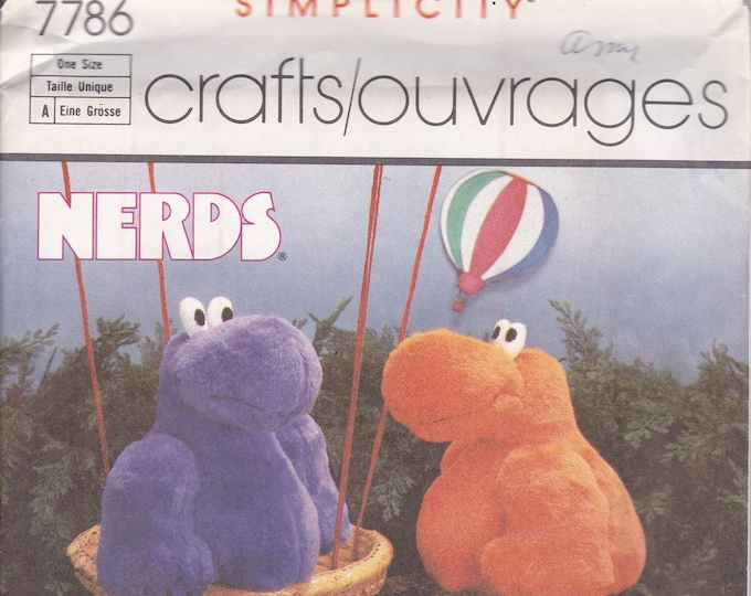 """FREE US SHIP  Craft Sewing Pattern Simplicity 7786 Plush Toy Animal Doll Nerds 10"""" 1986 Vintage Retro 1980s 80s Factory Folded"""