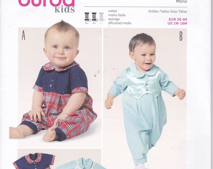 FREE US SHIP Burda 9369 Kids Baby Babies Infant Sewing Pattern Size 1 month to 18 mo. Romper Infant 1 pc Out of Print