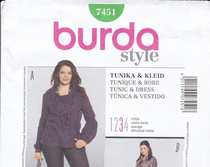 FREE US SHIP Burda 7451 Style Miss Dress Tunic Flounce Plus Sewing Pattern Size 18 20 22 24 26 28 30 32 34 Bust 40 42 44 46 48 50 52 54 New
