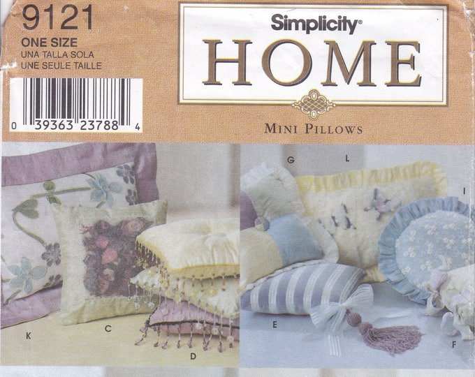 FREE US SHIP Simplicity 9121 Craft Sewing Pattern Conso Shabby Chic Country Mini Pillows Gingham Round Throw Uncut