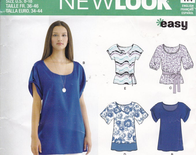 FREE US SHIP New Look 6025 Sewing Pattern  Blouse tunic Easy Loose Fitting Size 8/18 Bust 30 31 32 34 36 38 40