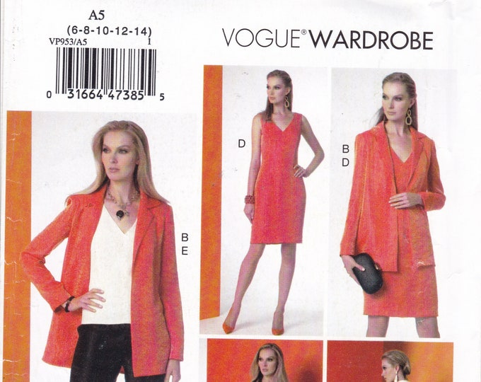 FREE US SHIP Vogue 953 9176 Sewing Pattern Wardrobe Dress Top Pants Size 6/14 14/22 Bust 30 31 32 34 36 38 40 42 44 46  Uncut Out of Print