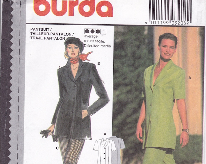 FREE US SHIP Sewing Pattern Burda 3208 Size 10 12 14 16 18 20 Bust 32 34 36 38 40 42 Plus Uncut Pantsuit Jacket Pants Uncut Couture