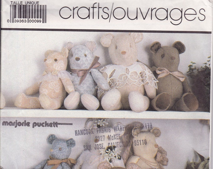 FREE US SHIP Simplicity 7826 Sewing Pattern Vintage Retro 1980s 80s Bear Plush Dolls Jointed Factory Folded Marjorie Puckett 1986