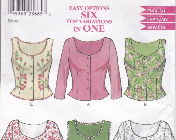 FREE US SHIP New Look 6945 Sewing Pattern  Blouse 6 waistcoat tops camisole Size 8/18 Bust 30 31 32 34 36 38 40