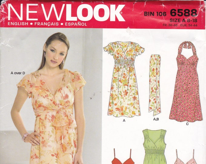 FREE US SHIP New Look 6588 Sewing Pattern Halter Empire Dress Sash Belt  Size 8/18 Bust 30 31 32 34 36 38 40