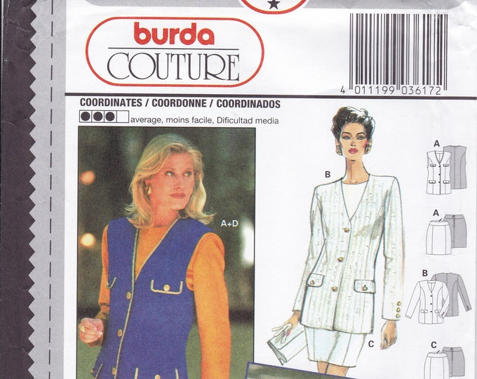 FREE US SHIP Sewing Pattern Burda 3617 Size 10 12 14 16 18 20 Bust 32 34 36 38 40 42 Plus Uncut Suit Jacket Skirt Blouse Couture
